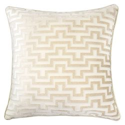 Homey Cozy Modern Velvet Maze Throw Pillow Cover,Ivory White Luxury Soft Fuzzy Cozy Warm Slik De ...