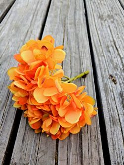 Orange Artificial Silk Hydrangea Flower With Stem.