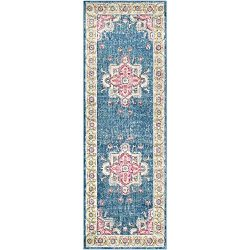 Surya Aura Silk Runner, 2'7″ x 7'6″, Blue and Pink