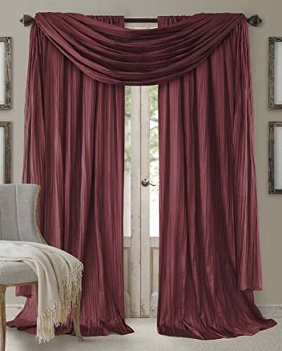 Elrene Home Fashions 026865855180 Window Curtain Drape Rod Pocket Panel, Set of 3, 52″ x 8 ...