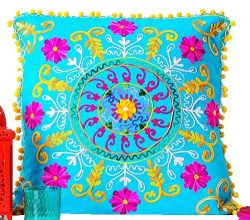 Embroidered Deep Blue Cotton Suzani Indian Cushion Cover. 20