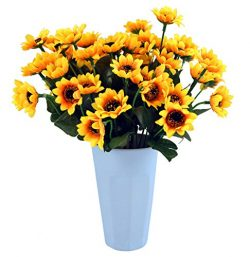 Kinwell Sunflowers Silk Artificial Flowers Floral Decor Bouquet Small Head 10 Bunches,for Home D ...