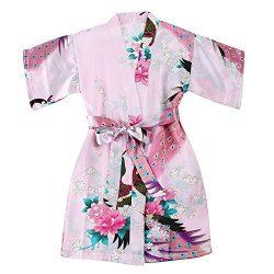Toddler Girls' Satin Kimono Robe Peacock Blossoms Bathrobes Weeding Gown SFA Wedding Birth ...