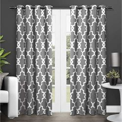 Exclusive Home Ironwork Sateen Woven Blackout Window Curtain Panel Pair with Grommet Top 52&#215 ...