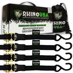 RHINO USA Ratchet Tie Down Straps (4PK) – 1,823lb Guaranteed Max Break Strength, Includes  ...