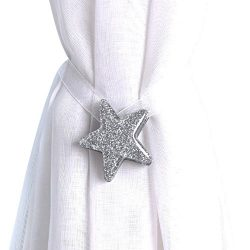 Joyci One Pair Star Magnetic Curtain Buckle Silk Holder Tiebacks Shining Curtain Buckle (Silver)