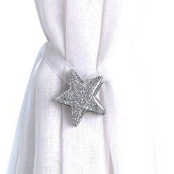 Joyci One Pair Star Magnetic Curtain Buckle Silk Holder Tiebacks Shining Curtain Buckle (Silver)