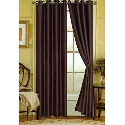 Editex Home Curtain Faux Silk Panel with Grommets, 108″, Chocolate