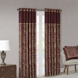 Burgundy Curtains for Living Room, Traditional Back Tab Curtains for Bedroom, Aubrey Jacquard Ro ...