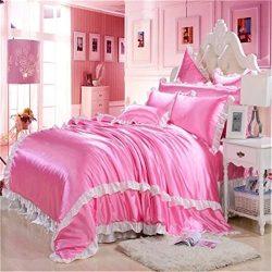 Newrara Silk Duvet Cover Set Korean Lace Bed Skirt Bed Cover Set Teen Girl Bedding Silk Wedding  ...
