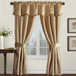 United Curtain Burlington Blackout Window Curtain 5-Piece Panel Set, 52 by 63-Inch, Gold
