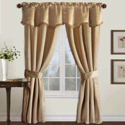United Curtain Burlington Blackout Window Curtain 5-Piece Panel Set, 52 by 63-Inch, Gold