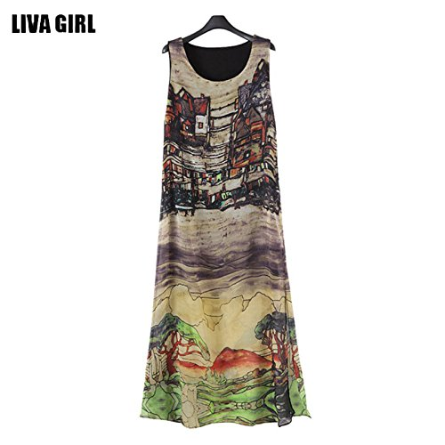 Popular Women Sleeveless Silk Chiffon Long Maxi Dress Summer Beach Sundress Fashion