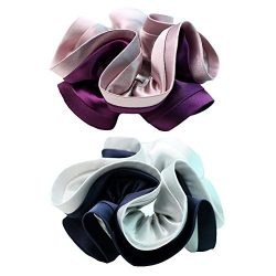 Wenobby 2 Count Premium Silk and Satin Ouchless Scrunchies,Durable Elastics Hair Tie Hair Bands  ...