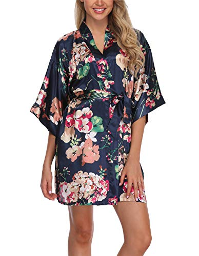 Super Shopping-zone Women's Floral Silk Robes Short Bridesmaids Robes for Wedding Party