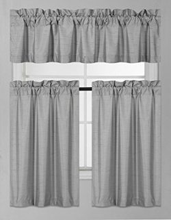 Elegant Home Collection 3 Piece Solid Color Faux Silk Blackout Kitchen Window Curtain Set with T ...