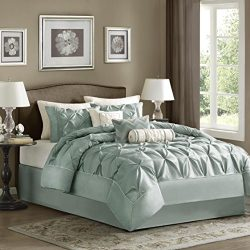 Madison Park Laurel King Size Bed Comforter Set Bed in A Bag – Seafoam, Wrinkle Tufted Ple ...