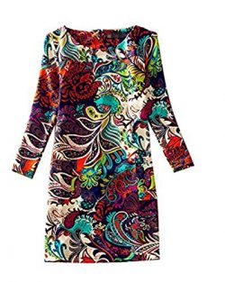 DAYSOFT Women Vintage Autumn Loose Floral Print Long Sleeve A-line Tunic Shift Casual Dress (S,  ...