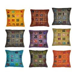 Indian Traditional Handmade Cushion Cover, Decorative Throw Pillow Cases, Embroidered Cotton Cus ...