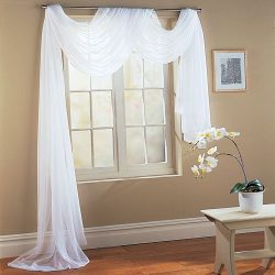 Beautiful White Elegance Window Sheer Voile Scarf 60″ X 216″