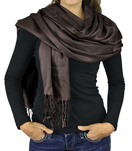 Women Scarf Viscose Faux Silk Pashmina Scarves For Women Stole Shawl Wraps – DarkBrown