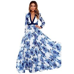 Women Maxi Dress,Boho Floral Print Skirt Summer Beach Party Long Petticoat Axchongery (Blue, L)