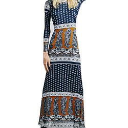 Sunmoot Fashion Women's Bohemian Vintage Printing Long Sleeve Dress Circular Collar Clothing