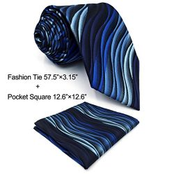 Shlax&Wing Ripple Blue New Men Design Necktie Ties Wedding Graduated Color