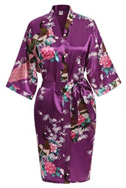 USDisc't Elegant Women's Kimono Robe for Parties Bridal and Bridesmaid Short (XL, Pu ...