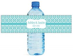 100 Teal Trellis Moroccan Background Wedding Water Bottle Labels Engagement Party 8″x2″
