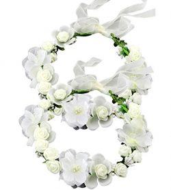 SIZSNM Flower Crown Floral Headbands Headpiece Wreath Girls Womens Artificial White Silk Roses W ...