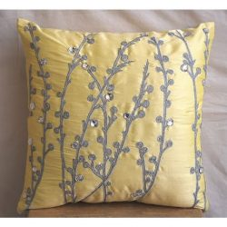 The HomeCentric Handmade Yellow Decorative Pillows Cover, Willow Design Pillows Cover, 16″ ...