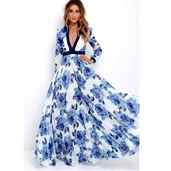 TOTOD Womens Long Maxi Princess Party Dress Fashion Ladies Boho Summer Print Dress (M, Blue)