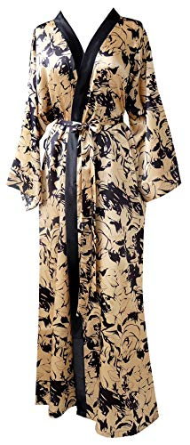 JANA JIRA Women's Long Ankle Length Robe for Women Plus Size Nightgowns Gold Print, 2XL/3XL