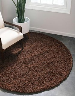Unique Loom Solo Solid Shag Collection Modern Plush Chocolate Brown Round (8′ x 8′)