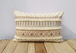 Cream Colour Pillow Cover Fringes Lace Embroidered Moroccan Pillow Standard Size 14×21 Inches