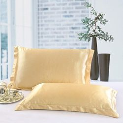 Queen Size Silk Satin Pillowcase, Camel 100% Polyester Satin Pillow Case for Hair and Skin, Faux ...