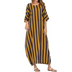 Corriee Women's Striped Kaftan Long Dress, 3/4 Sleeve Crew Neck Casual Maxi Dress Loose Be ...