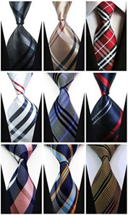 Ties For Men Set of 9 w3dayup Men's Classic Tie Necktie Woven Jacquard Neck 9pt001