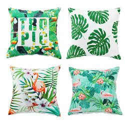 Set of 4,Soft Velvet Decorative Throw Pillow Cover Case set Flamingo&Palm Tree Pattern Accen ...