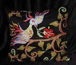 FAIRY BIRD UZBEK BUKHARA SILK HANDMADE EMBROIDERED SUZANI PILLOW CASE CUSHION A11569