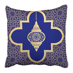 Emvency Throw Pillow Cover Square 18×18 Inches Morrocan Ornate with Traditional Arabic Lant ...