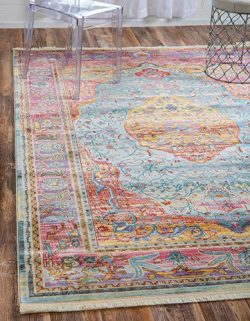 Unique Loom Baracoa Collection Bright Tones Vintage Traditional Light Blue Area Rug (10′ x ...