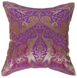 Artiwa Traditional Indian Elephants Embroidered Violet Purple and Gold Silk Throw Decorative Pil ...