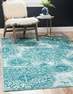 Unique Loom Sofia Collection Traditional Vintage Turquoise Area Rug (4′ x 6′)