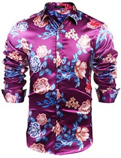 COOFANDY Men's Floral Silk Button Down Shirts Halloween Shirt