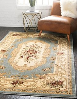 Unique Loom Versailles Collection Traditional Classic Light Blue Area Rug (3′ x 5′)