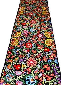 UZBEK HANDCRAFTED FULLY SILK EMBROIDERED COTTON SUZANI FABRIC BY YARDAGE A11055