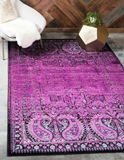 Unique Loom Imperial Collection Modern Traditional Vintage Distressed Lilac Area Rug (8′ x ...