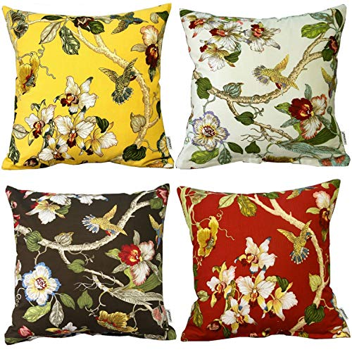 LAZAMYASA 4-Pack Beautiful Bird Flowers Trees Gorgeous Spring Cotton Yellow Soft Throw Pillow Co ...